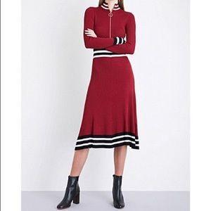 New Maje Red Reinette Striped-trim Ribbed Dress